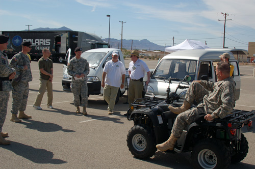 ZAP presents electric truck, van, and ATV to the U.S. Army.
