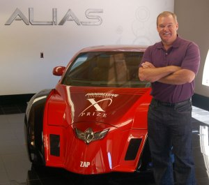 Al Unser Jr. with the ZAP Alias electric car