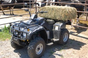 The ZAP DUDE electric ATV can carry up to 100 lbs on its cargo racks.